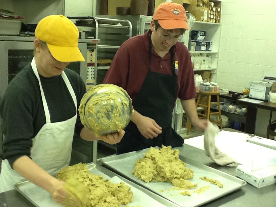 Sunflower students preparing mandel bread dough