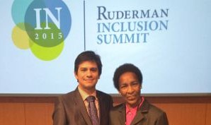 Dayro Reyes Acosta (at left) with Special Olympian Loretta Claiborne