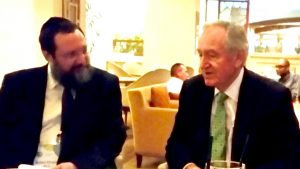 Rabbi Efraim Mintz, JLI Director, with former U.S. Senator Tom Harkin (D-Iowa) at the November 2015 Ruderman Inclusion Summit