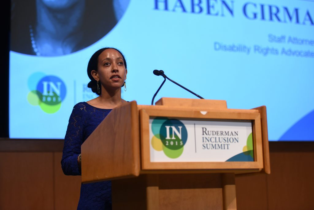 Haben Girma speaking at the 2015 Ruderman Inclusion Summit (Credit: Noam Galai)