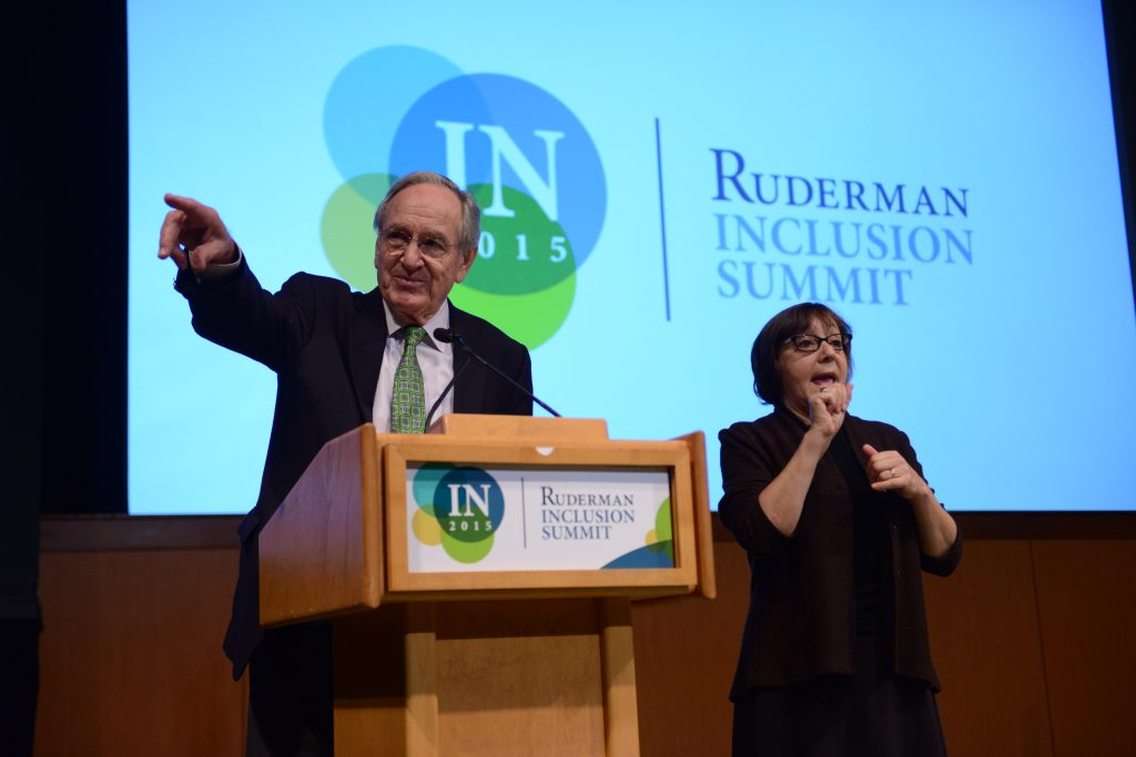 Senator Tom Harkin addresses the 2015 Ruderman Inclusion Summit in Boston