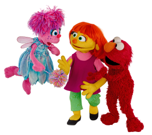 Julia with her friends Elmo and Abby Cadabby. © 2017 Sesame Workshop.  All Rights Reserved.  Photo Credit: Zach Hyman.