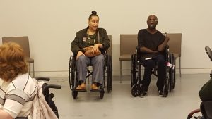 Keith Jones and Heather Watkins discuss the needs of people with disabilities when it comes to fashion. Photo Credit: Malia Lazu